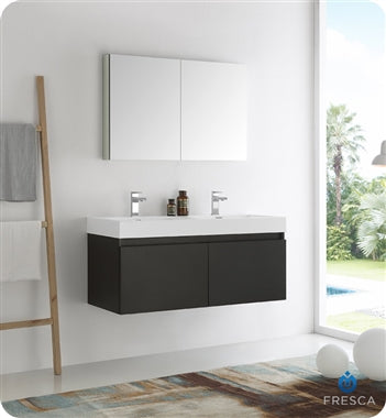 "Fresca Mezzo 48"" Black Wall Hung Double Sink Modern Bathroom Vanity w/ Medicine Cabinet"