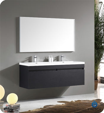 "Fresca Largo 57"" Black Modern Bathroom Vanity w/ Wavy Double Sinks"
