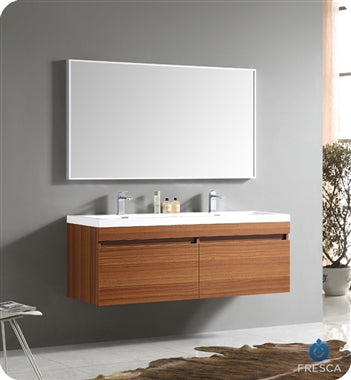 "Fresca Largo 57"" Teak Modern Bathroom Vanity w/ Wavy Double Sinks"