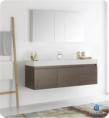 "Fresca Mezzo 60"" Gray Oak Wall Hung Single Sink Modern Bathroom Vanity w/ Medicine Cabinet"