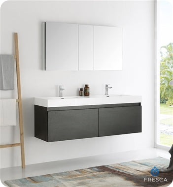 "Fresca Mezzo 60"" Black Wall Hung Double Sink Modern Bathroom Vanity w/ Medicine Cabinet"