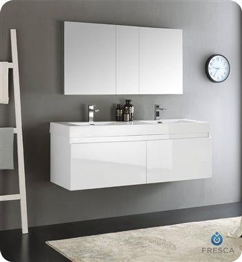 "Fresca Mezzo 60"" White Wall Hung Double Sink Modern Bathroom Vanity w/ Medicine Cabinet"