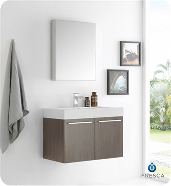 "Fresca Vista 30"" Gray Oak Wall Hung Modern Bathroom Vanity w/ Medicine Cabinet"