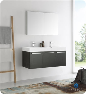 "Fresca Vista 48"" Black Wall Hung Double Sink Modern Bathroom Vanity w/ Medicine Cabinet"