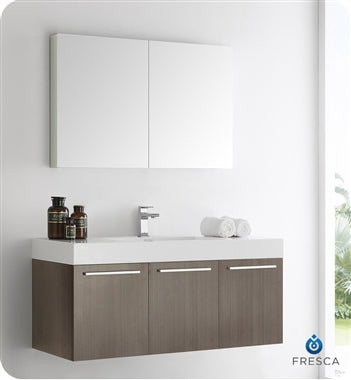 "Fresca Vista 48"" Gray Oak Wall Hung Modern Bathroom Vanity w/ Medicine Cabinet"