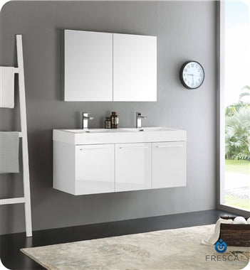 "Fresca Vista 48"" White Wall Hung Double Sink Modern Bathroom Vanity w/ Medicine Cabinet"
