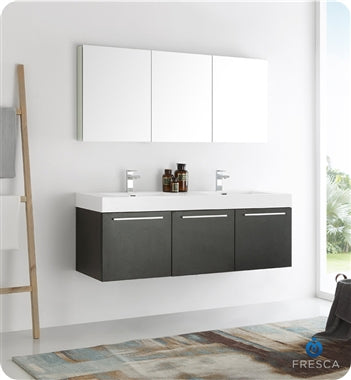 "Fresca Vista 60"" Black Wall Hung Double Sink Modern Bathroom Vanity w/ Medicine Cabinet"