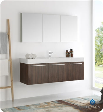 "Fresca Vista 60"" Walnut Wall Hung Single Sink Modern Bathroom Vanity w/ Medicine Cabinet"