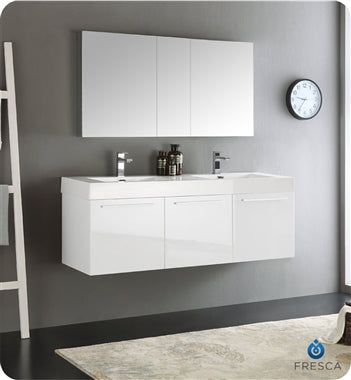 "Fresca Vista 60"" White Wall Hung Double Sink Modern Bathroom Vanity w/ Medicine Cabinet"