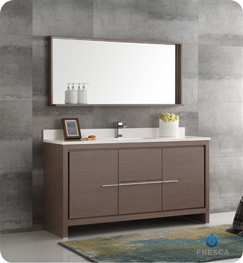 "Fresca Allier 60"" Gray Oak Modern Single Sink Bathroom Vanity w/ Mirror"
