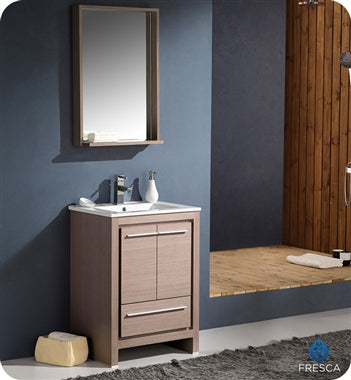 "Fresca Allier 24"" Gray Oak Modern Bathroom Vanity w/ Mirror"