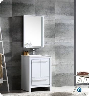 "Fresca Allier 24"" White Modern Bathroom Vanity w/ Mirror"