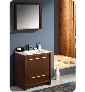 "Fresca Allier 30"" Wenge Brown Modern Bathroom Vanity w/ Mirror"