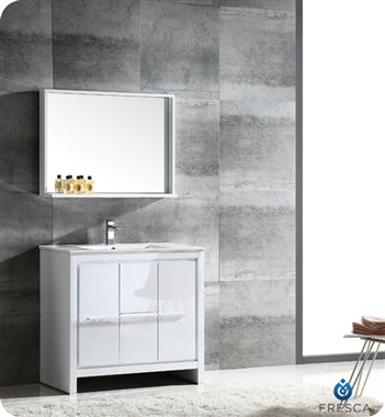 "Fresca Allier 36"" White Modern Bathroom Vanity w/ Mirror"
