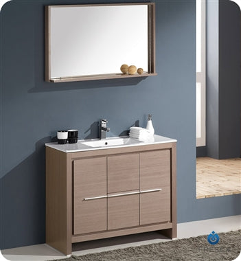 "Fresca Allier 40"" Gray Oak Modern Bathroom Vanity w/ Mirror"