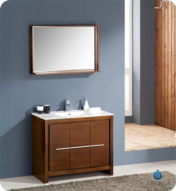 "Fresca Allier 40"" Wenge Brown Modern Bathroom Vanity w/ Mirror"