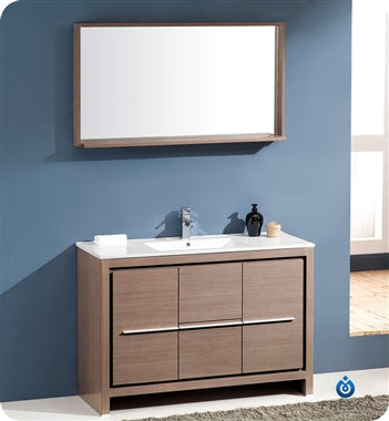 "Fresca Allier 48"" Gray Oak Modern Bathroom Vanity w/ Mirror"