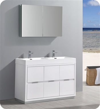 "Fresca Valencia 48"" Glossy White Free Standing Double Sink Modern Bathroom Vanity w/ Medicine Cabinet"