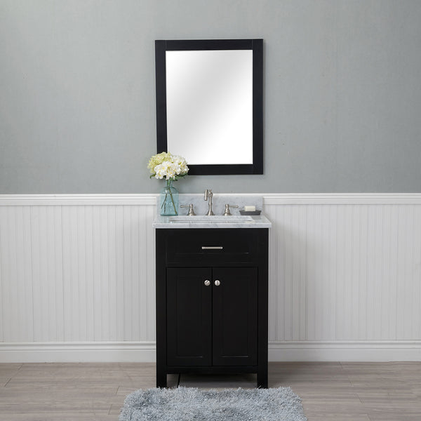 Norwalk 24 in. Single Bathroom Vanity in Espresso with Carrera Marble Top and No Mirror