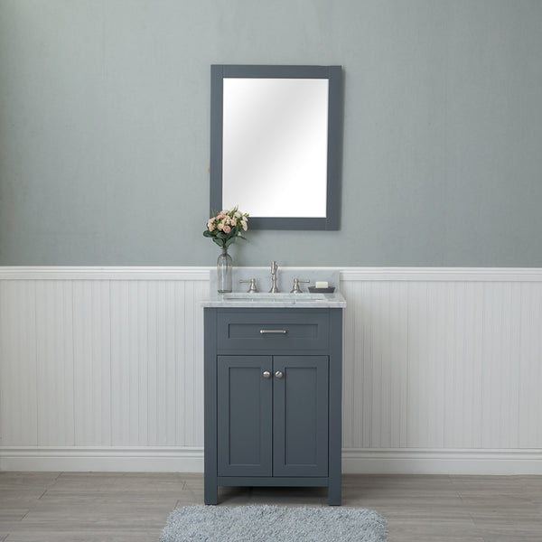 Norwalk 24 in. Single Bathroom Vanity in Gray with Carrera Marble Top and Mirror