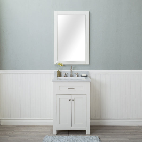 Norwalk 24 in. Single Bathroom Vanity in White with Carrera Marble Top and Mirror