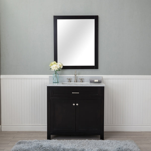 Norwalk 36 in. Single Bathroom Vanity in Espresso with Carrera Marble Top and No Mirror