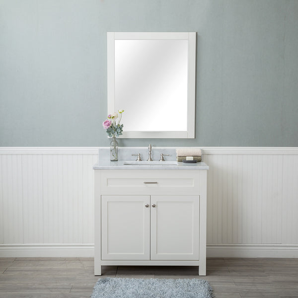 Norwalk 36 in. Single Bathroom Vanity in White with Carrera Marble Top and No Mirror