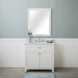 Norwalk 36 in. Single Bathroom Vanity in White with Carrera Marble Top and Mirror