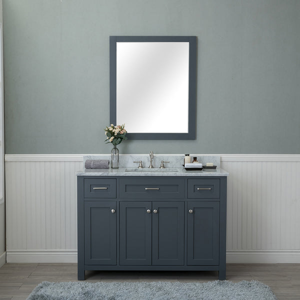 Norwalk 48 in. Single Bathroom Vanity in Gray with Carrera Marble Top and Mirror