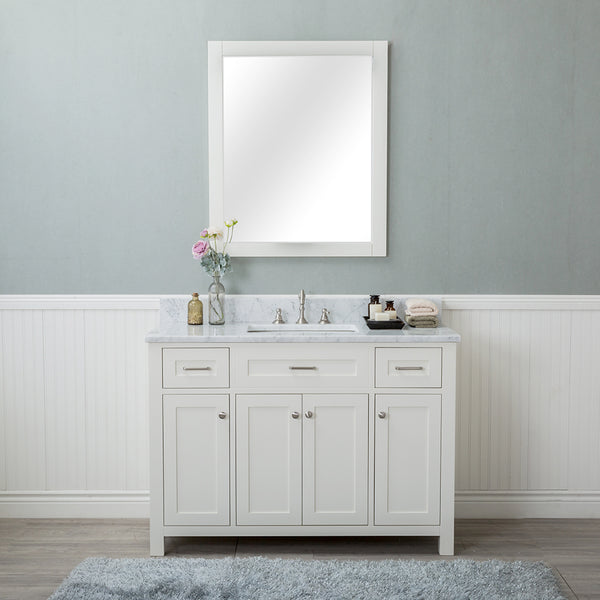 Norwalk 48 in. Single Bathroom Vanity in White with Carrera Marble Top and No Mirror