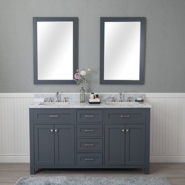 Norwalk 60 in. Double Bathroom Vanity in Gray with Carrera Marble Top and No Mirror