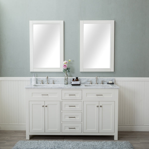 Norwalk 60 in. Double Bathroom Vanity in White with Carrera Marble Top and Mirror