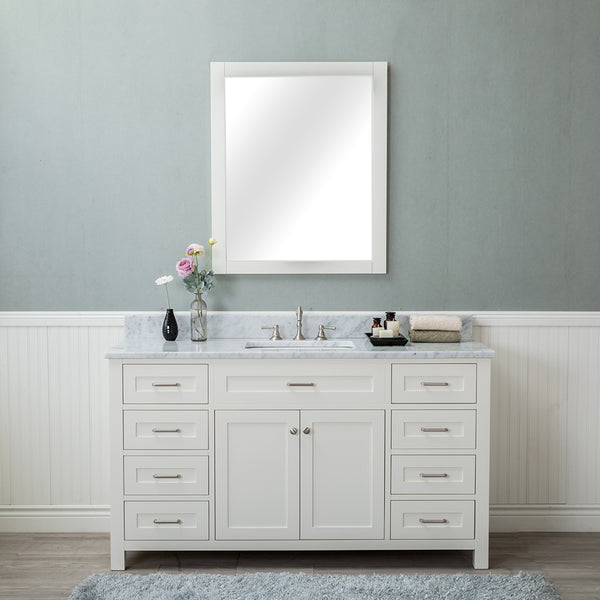 Norwalk 60 in. Single Bathroom Vanity in White with Carrera Marble Top and Mirror