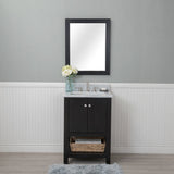 Wilmington 24 in. Single Bathroom Vanity in Espresso with Carrera Marble Top and No Mirror