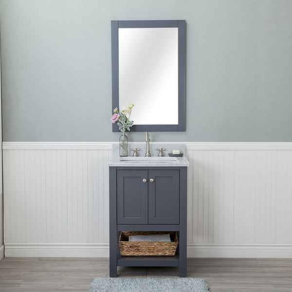 Wilmington 24 in. Single Bathroom Vanity in Gray with Carrera Marble Top and Mirror