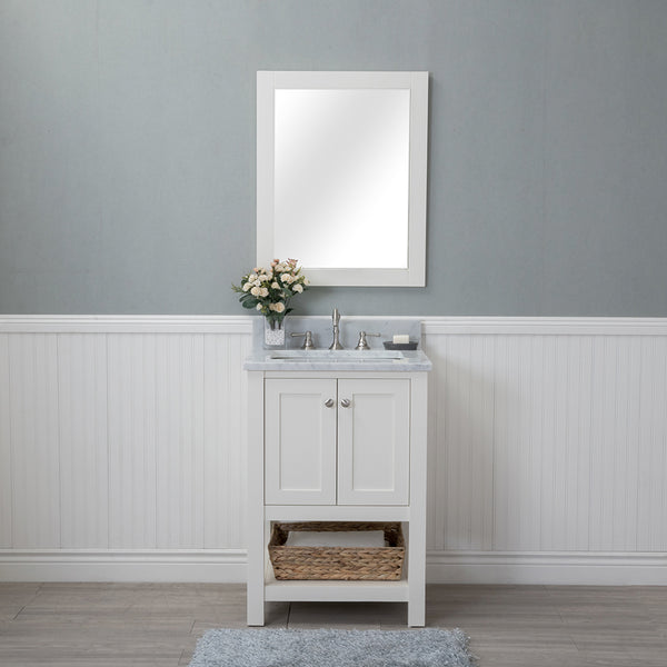 Wilmington 24 in. Single Bathroom Vanity in White with Carrera Marble Top and Mirror