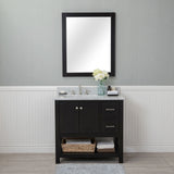 Wilmington 36 in. Single Bathroom Vanity in Espresso with Carrera Marble Top and No Mirror