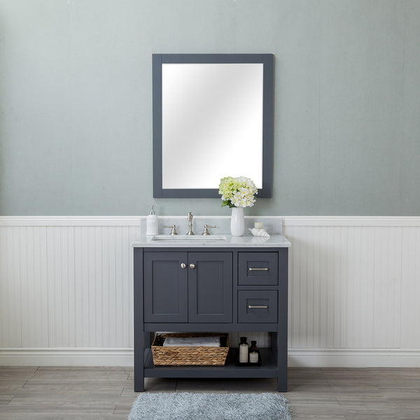 Wilmington 36 in. Single Bathroom Vanity in Gray with Carrera Marble Top and Mirror