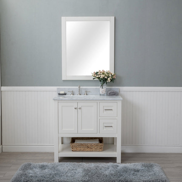 Wilmington 36 in. Single Bathroom Vanity in White with Carrera Marble Top and No Mirror