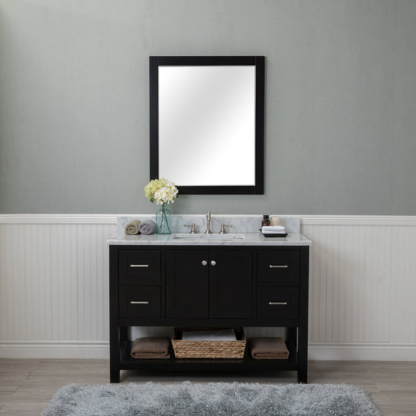 Wilmington 48 in. Single Bathroom Vanity in Espresso with Carrera Marble Top and Mirror