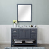 Wilmington 48 in. Single Bathroom Vanity in Gray with Carrera Marble Top and Mirror