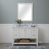 Wilmington 48 in. Single Bathroom Vanity in White with Carrera Marble Top and Mirror
