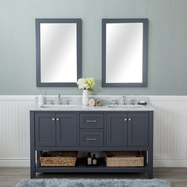 Wilmington 60 in. Double Bathroom Vanity in Gray with Carrera Marble Top and Mirror