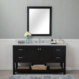 Wilmington 60 in. Single Bathroom Vanity in Espresso with Carrera Marble Top and Mirror
