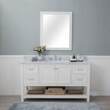 Wilmington 60 in. Single Bathroom Vanity in White with Carrera Marble Top and No Mirror