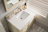 "Bristol 36"" Single Vanity, Vintage Vanilla with 3 CM Snow White Quartz Top"
