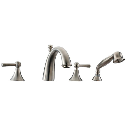 Dawn? 4-hole Tub Filler with Personal Handshower and Lever Handles, Brushed Nickel