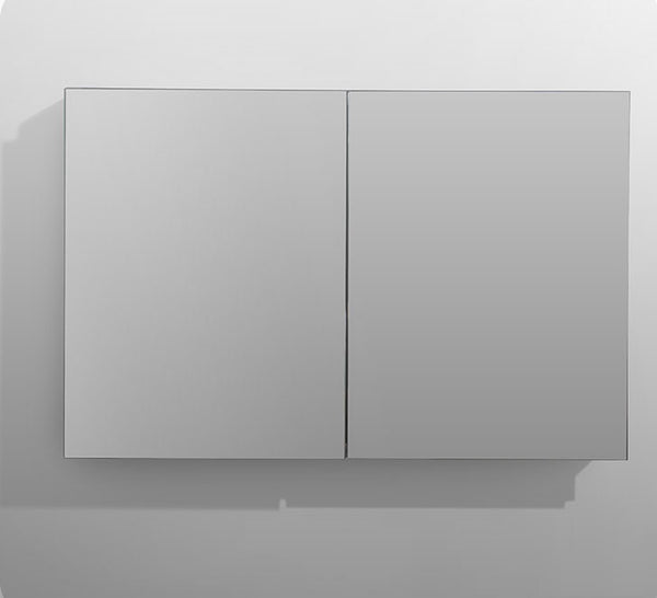 AQUADOM Medicine Mirror Glass Cabinet For Bathroom Royale Recessed & Surface Mount - 170 Degree Soft Close Blum Hinges Made in Austria - Made With Anodized Aluminum (48in x 30in x 5in)