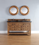 "Malibu 60"" Honey Alder Double Vanity with 4 CM Black Rustic Stone Top"