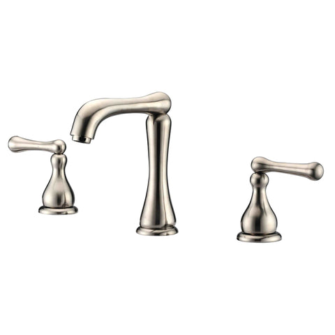 "Dawn? 3-hole, 2-handle widespread lavatory faucet for 8"" centers, Brushed Nickel (Standard pull-up drain with lift rod D90 0010BN included)"